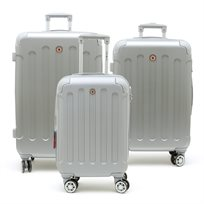 Swiss Travel Club - סט 3 מזוודות 201 קשיחות בצבע כסףאפור