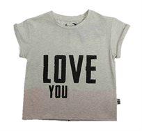 חולצת טי שרט Minene לבנות עם הדפס בצבע שמנת מלאנז'