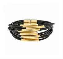 צמיד מגנט חדש בציפוי זהב 24 קראט עם עור שחור