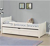 מיטת ילדים מעץ מלא דגם נוי עם מיטת חבר נשלפת מסדרת VERY WOOD