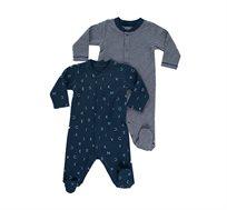 מארז זוג אוברולים לתינוקות בצבע פסים בלבן עם כחול נייבי, כחול נייבי מודפס מיננה