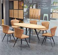 פינת אוכל נפתחת מעוצבת דגם HAVANA עשויה עץ הכוללת 6 כיסאות  - משלוח חינם