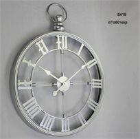 שעון קיר גדול בעיצוב יוקרתי גימור כסוף