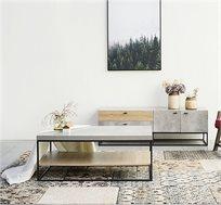 שולחן קפה מלבני מעוצב בסגנון תעשייתי ועכשווי בגוון בטון אפור עם מדף בצבע עץ