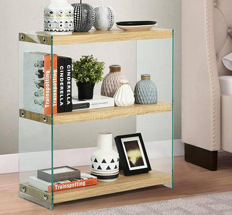 שידת מדפים דגם דסטו בעיצוב המשלב עץ וזכוכית מסדרת אקווה