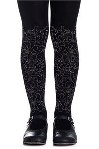 גרביון עם הדפס אפור בהיר Cat Lady Girls Black בצבע שחור