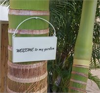 שלט כניסה לגינה WELCOME טיפות טבע לבית ולגינה