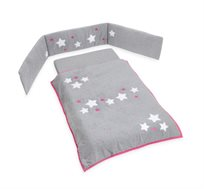 סט קומפלט למיטת תינוק דגם כוכבים ורוד LAURA SWISRA