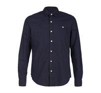 חולצה מכופתרת ארוכה לגברים - כחול כהה
