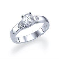 """טבעת אירוסין זהב לבן """"גיזל"""" 0.51 קראט בשיבוץ שונה וייחודי"""