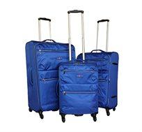 """סט 3 מזוודות Swiss דגם Feather עשויות מבד בגדלים """"19   """"24   """"28 בעלות אפשרות הרחבה"""