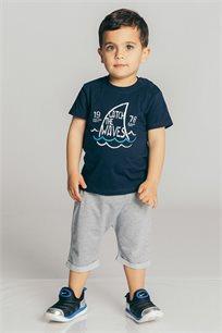 חולצת טריקו קצרה בהדפס גלים לבנים Kiwi בצבע כחול נייבי