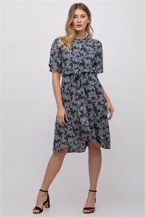 שמלה פרחונית עם קשירה במותן