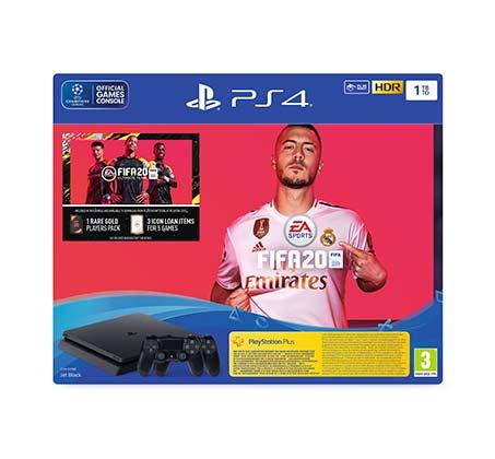 מכירה מוקדמת לקונסולת Playstation 4 SLIM  עם המשחק FIFA20  בנפח 1TB כולל 2 בקרים