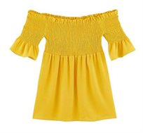 חולצת כיווצים חשופת כתפיים PROMOD בצבע צהוב