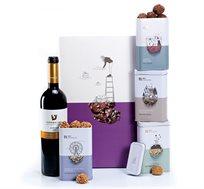 מארז יין וטראפלס במגוון טעמים