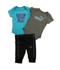 PUMA /סט שני בגדי גוף ומכנס (6-0 חודשים) - כחול אפור