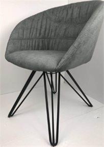 כורסא מעוצבת דגם אמילי מבד קטיפה איכותי צבע אפור רגליים שחורות