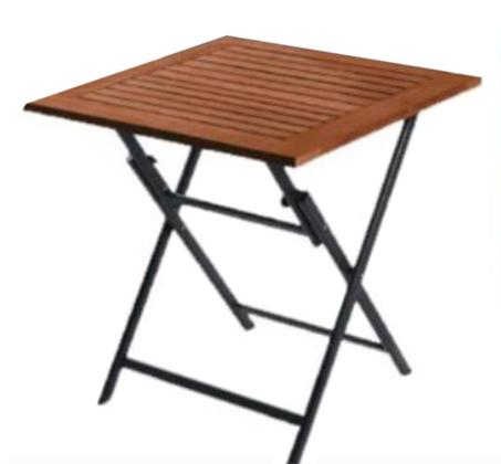 שולחן מתקפל בעל פלטת עץ אקליפטוס ורגלי אלומיניום