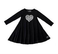 שמלת ג'רזי מסתובבת עם שרוול ארוך - שחור בשילוב הדפס לב גדול
