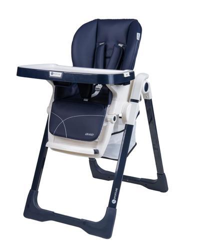 כסא אוכל מפואר לתינוק דגם גרנד Grand בריפוד דמוי עור יוקרתי וגלגלים נשלפים - כחול