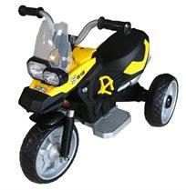 אופנוע ממונע 6V עם גלגלי Eva מונע החלקה, אורות וצלילים - צהוב
