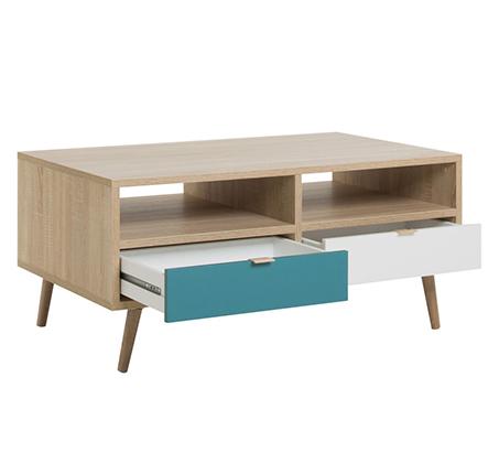 שולחן סלון מעוצב עם תא אחסון פתוח ושתי מגירות
