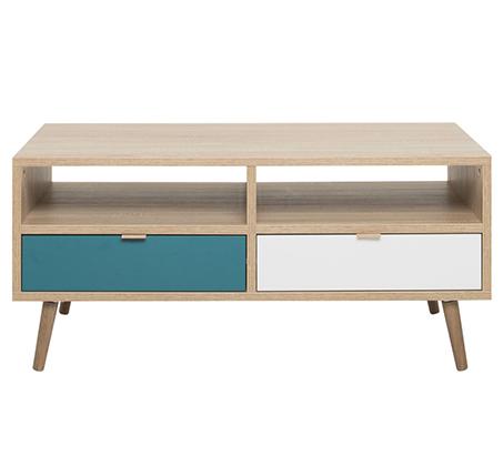שולחן סלון מעוצב עם תא אחסון פתוח ושתי מגירות דגם BRADEX CUBA55  - תמונה 2