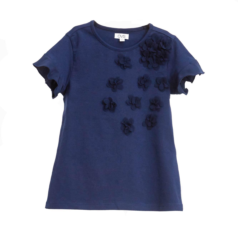 חולצה קצרה OVS לילדות עם פרחי טול - כחול