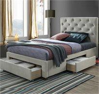 """מיטה זוגית מרופדת עם בסיס עץ מלא 140X190 ס""""מ עם 3 מגירות אחסון דגם טופז HOME DECOR"""