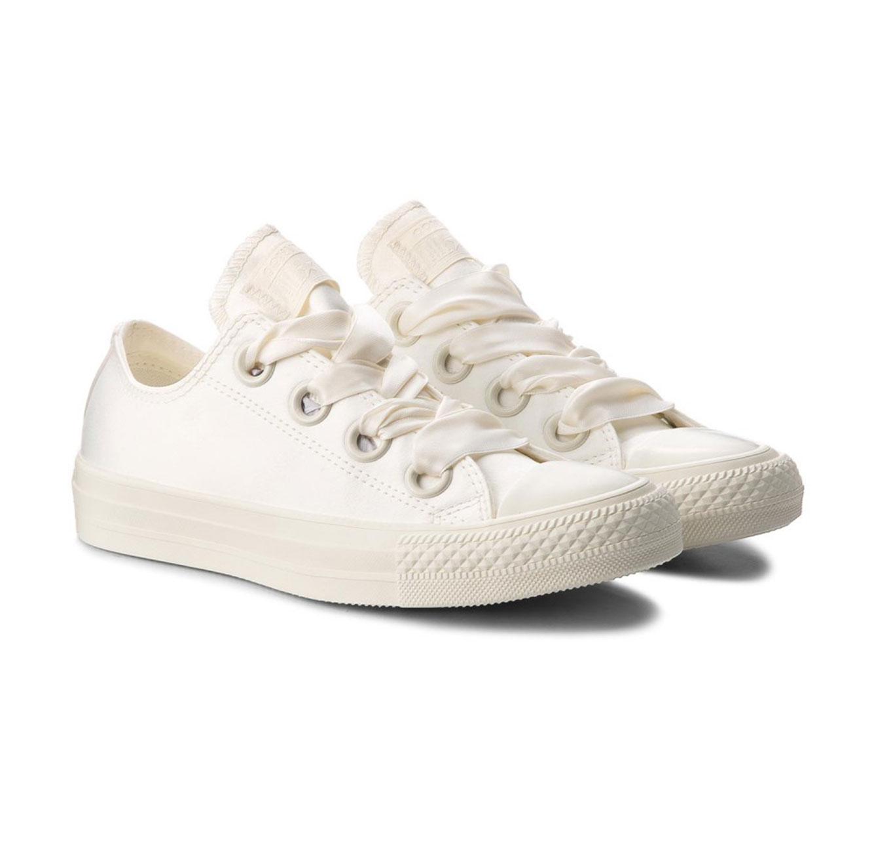 נעלי סניקרס לנשים עם שרוכי סאטן  - לבן