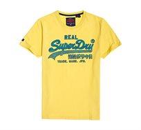 טי שירט Superdry Vintage Logo לגברים בצבע צהוב