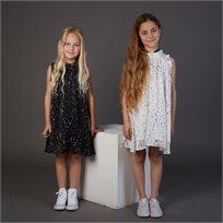 שמלת ORO לילדות (מידות 2-8 שנים) לבן כוכבים