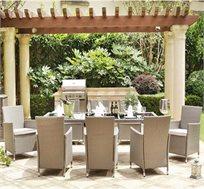 סט ישיבה דמוי ראטן 7 או 9 חלקים בעל שולחן ענק משולב זכוכית שחורה וכסאות עם משענת גבוהה מבית HomeTown