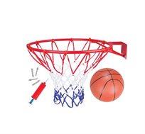 """חבילת סל איכותית הכוללת חישוק כדורסל בקוטר 42 ס""""מ + רשת משחק + כדור"""