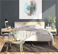 מיטה זוגית מעוצבת עם 2 שידות לילה תואמות דגם DELTA