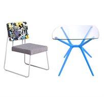 סט שולחן זכוכית וזוג כסאות מרופדים לגינה דגם סביון