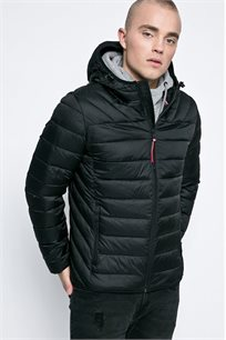 מעיל איכותי דגם N0YGNP041 לגברים בצבע שחור