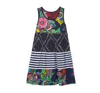 שמלה דו צדדית בהדפסי פרחים ופיזלי לילדות Desigual דגם Maseru בצבע כחול כהה/צבעוני