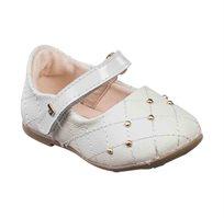 נעלי בובה לבנות דגם בובה משובץ בצבע לבן