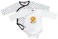 זוג בגדי גוף לתינוק כותנה טריקו 0-3 חודשים - לבן אריה