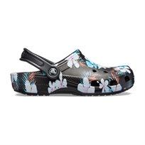 Crocs Classic Seasonal Graphic Clog - נעלי קלוג קלאסיות בהדפס קייצי בצבע שחורפרחוני