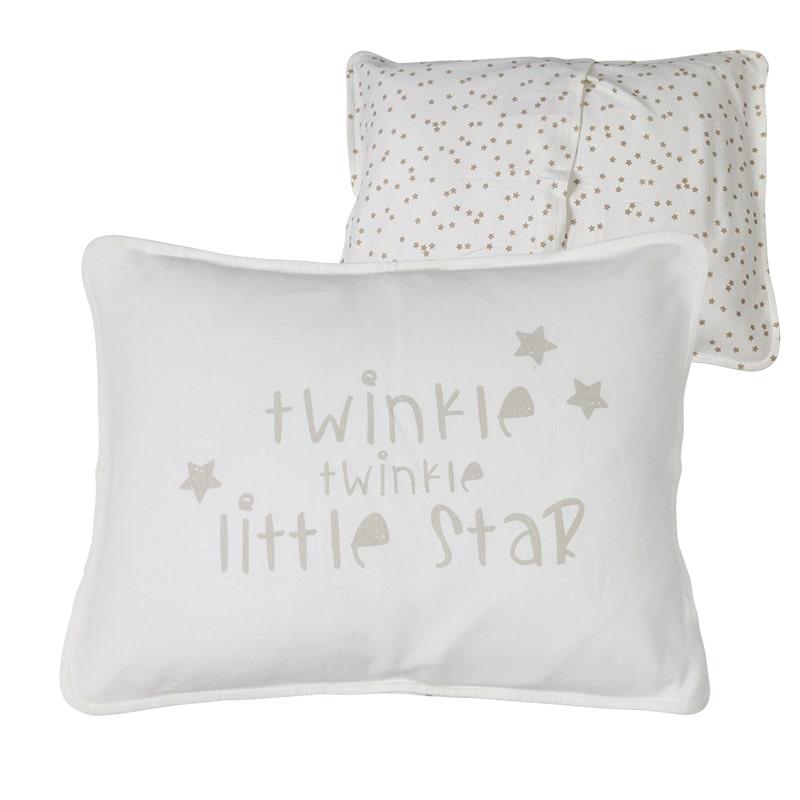 ציפית לכרית תינוק, שמנת חום כוכבים
