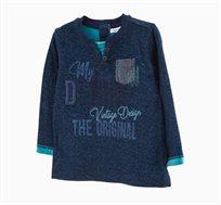 חולצת טי ארוכה לתינוקות וילדים בצבע כחול כהה עם עיטורי רקמה