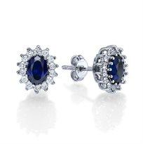 עגילי יהלומים משובצים אבני ספיר בעיצוב הנסיכה דיאנה