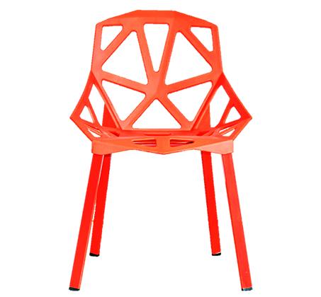 כיסא לפינת אוכל מעוצב בצורות גאומטריות מפלסטיק ושלד ברזל דגם ספיר - תמונה 3