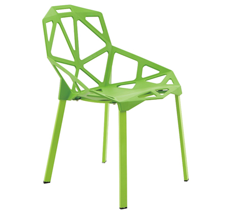כיסא לפינת אוכל מעוצב בצורות גאומטריות מפלסטיק ושלד ברזל דגם ספיר - תמונה 2