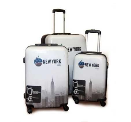 סט שלוש מזוודות קשיחות מעוצבות דגם ניו יורק