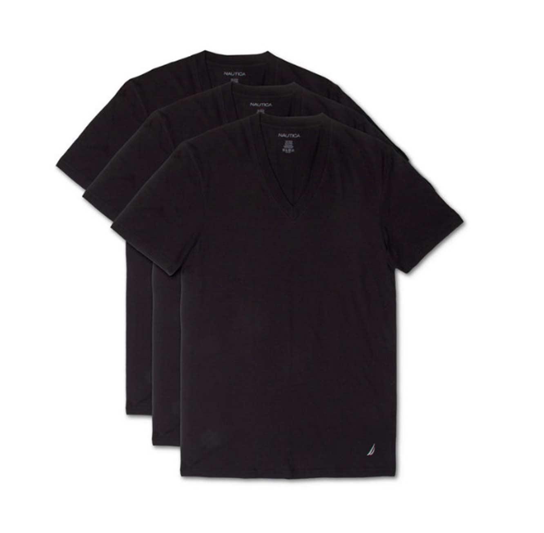 מארז 3 חולצות טי שרט צווארון וי לגברים - שחור