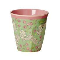 כוס מלמין טוטון עם הדפס פרפר ופרח - Rice